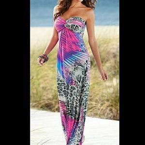 Venus Strapless Maxi Dress Leopard & Palm Pompeii